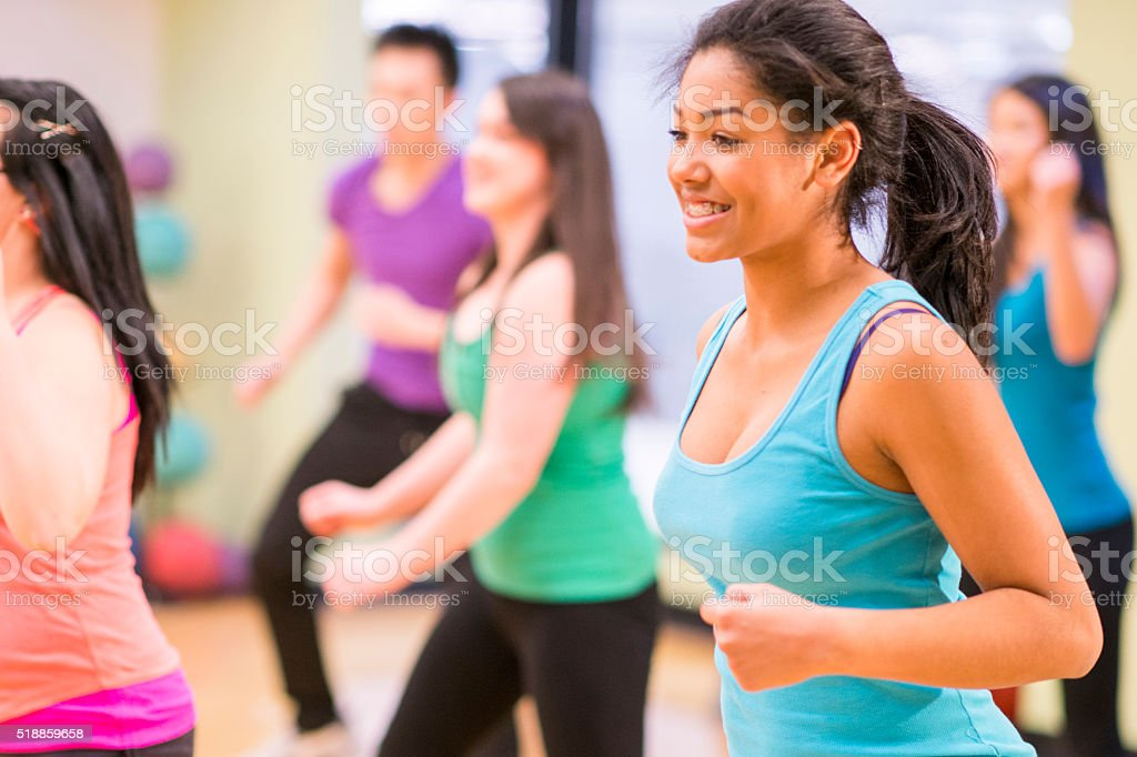 Dancing at a Fitness Class in the Gym stock photo