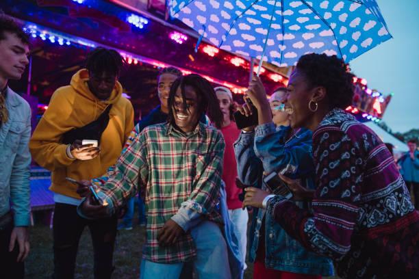 Dancing at a Funfair stock photo