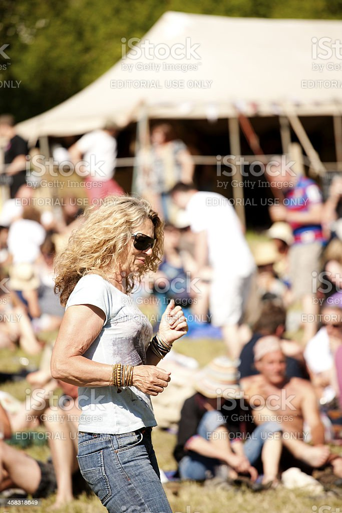Dancing at a live music event stock photo