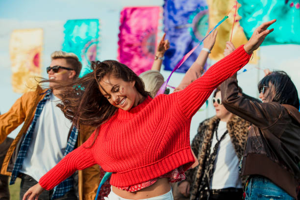 Dancing at a Music Festival stock photo