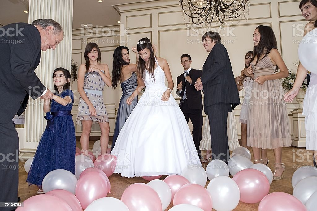 Dancing at quinceanera stock photo