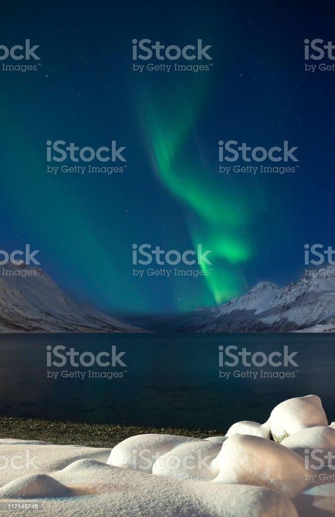 Dancing Aurora over Lapland. stock photo