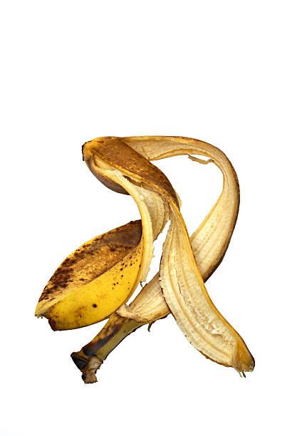 dancing banana peel banana peel isolated on white background banana peel stock pictures, royalty-free photos & images
