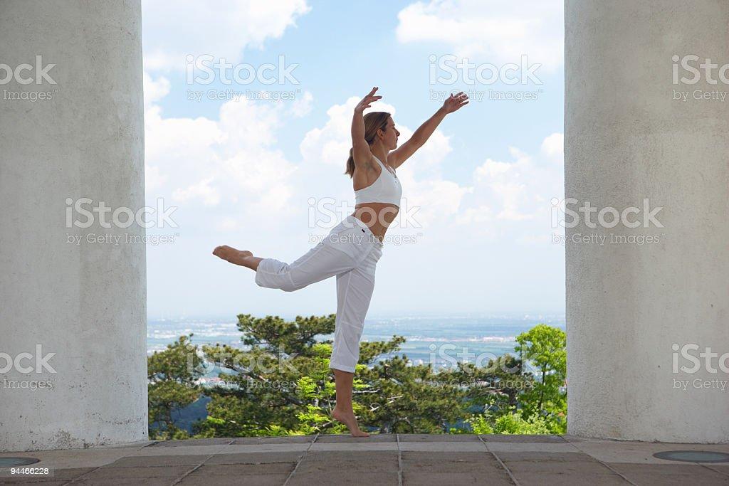 dancing between pillars royalty-free stock photo