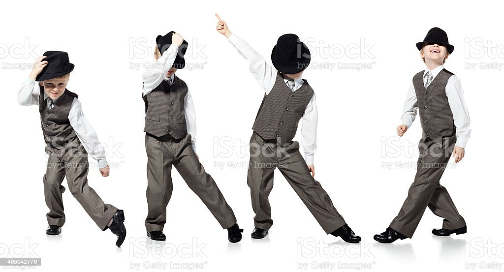 Dancing boy isolated on white stock photo