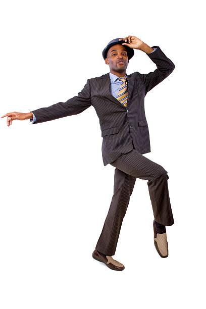 ダンスビジネスマンのスーツで、白背景 ストックフォト