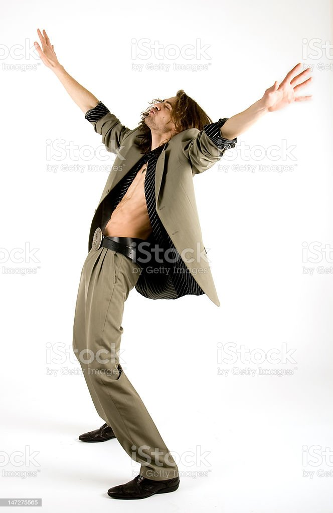 Dancing businessman stock photo