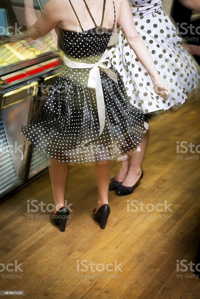 Dancing by the jukebox stock photo