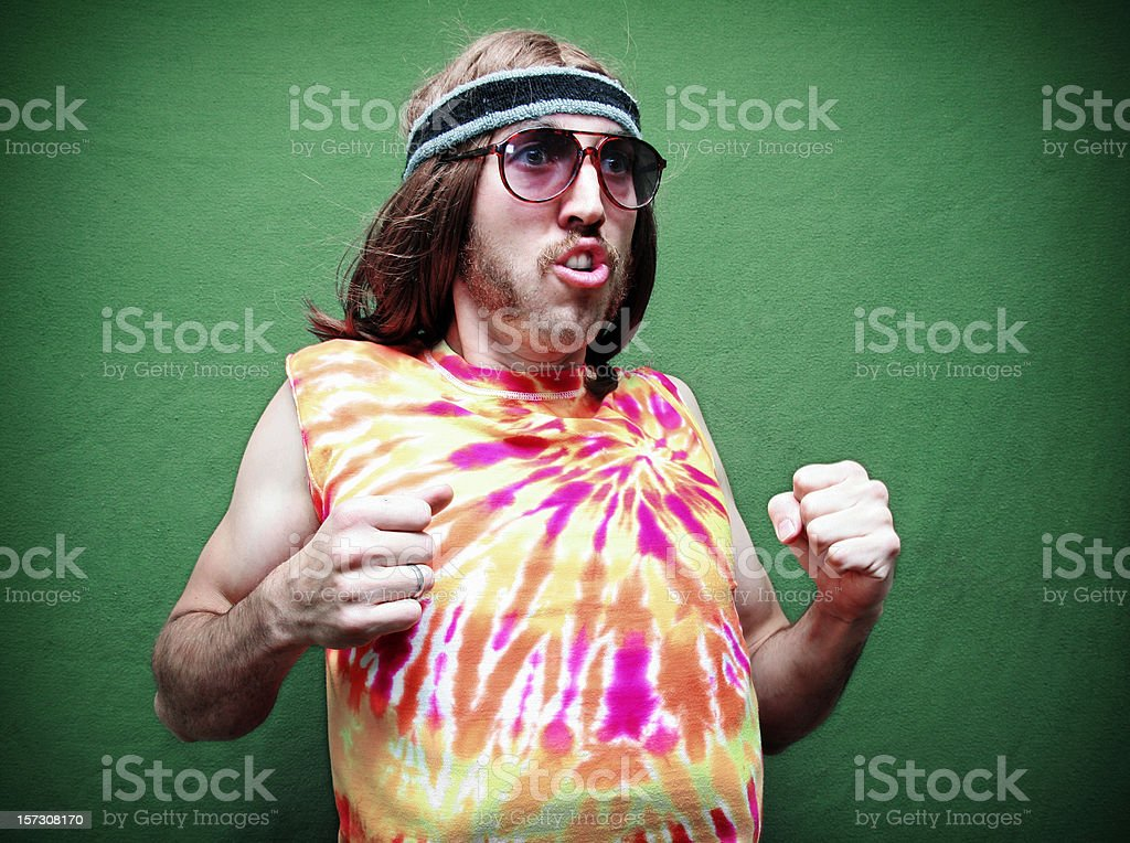 Dancing Crazy Hippy Man with Mustache stock photo