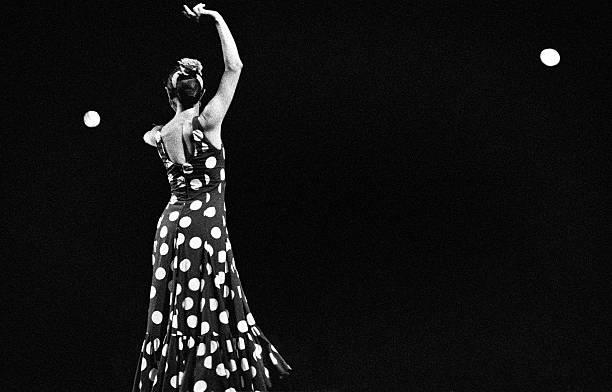 Dancing flamenco pois stock photo
