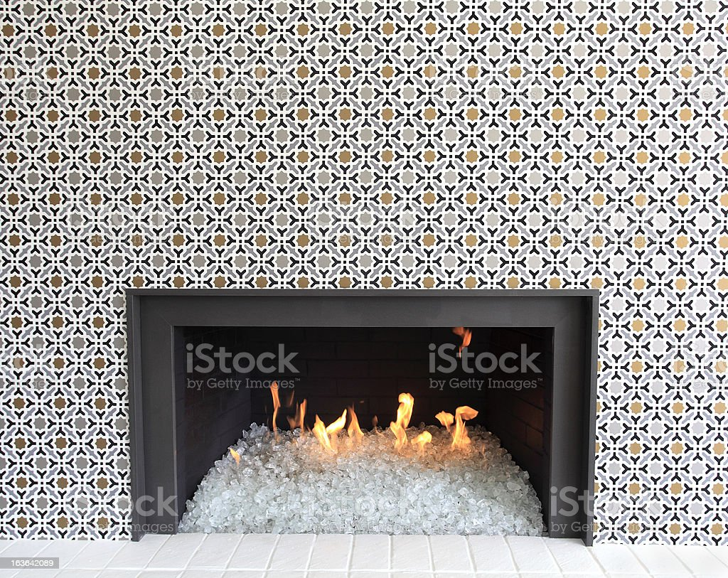 Dancing Flames In The Modern Glass Fireplace royalty-free stock photo