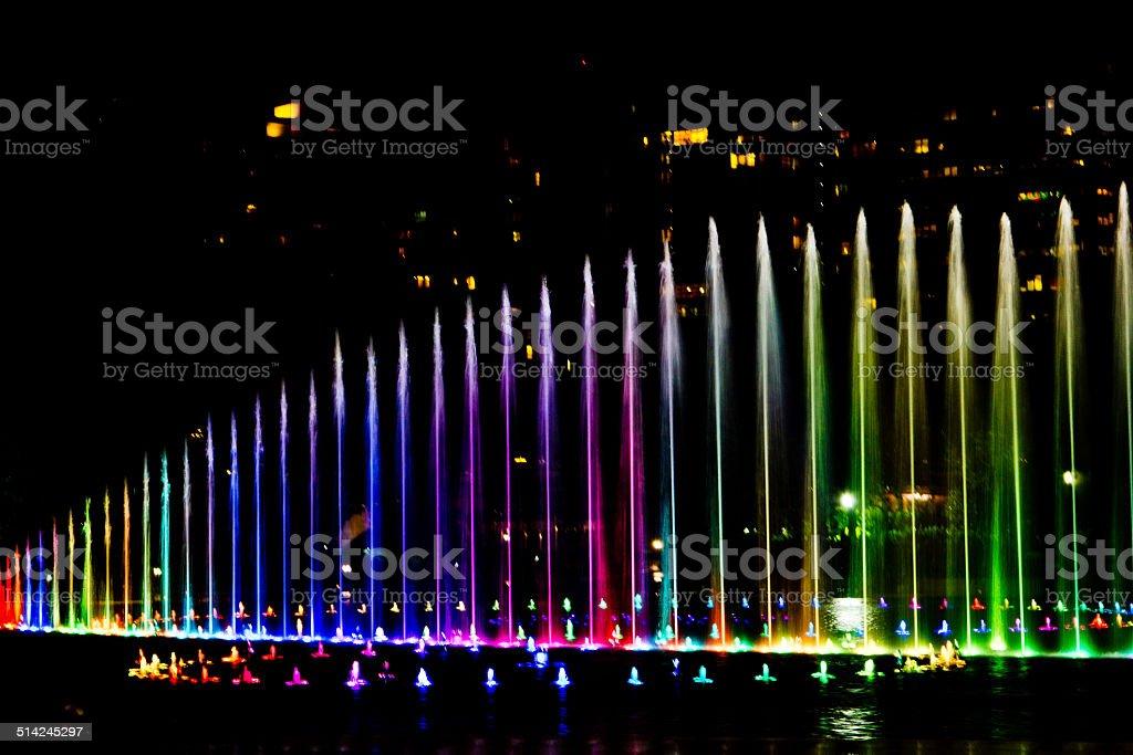 dancing fountain show stock photo