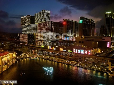 High angle view by night from Wynn Palace, the second luxury integrated resort in the Macau Special Administrative Region following the launch of Wynn Macau. It