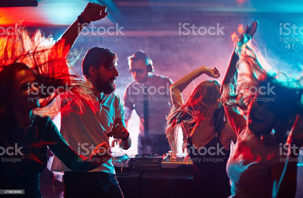 Dancing friends stock photo