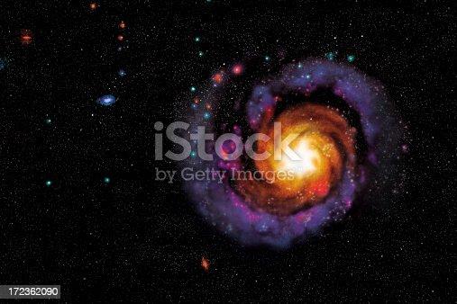 Coloured galaxy, digital generation.