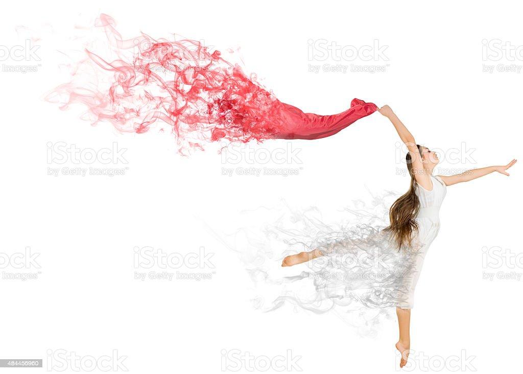 Dancing girl in dress stock photo