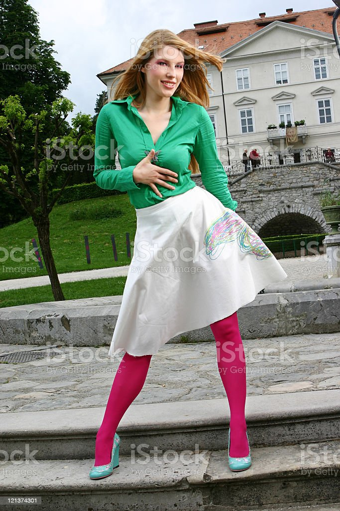 Dancing girl on stairs royalty-free stock photo