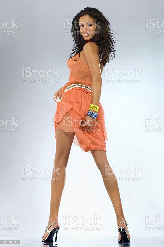 Tanz Mädchen orange - Lizenzfrei Aktiver Lebensstil Stock-Foto