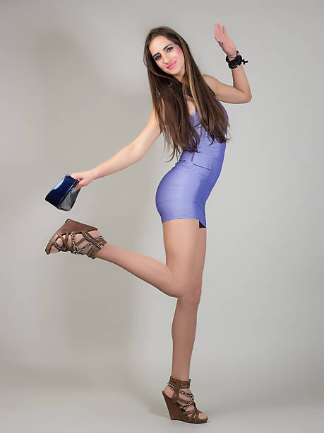 dancing girl - mini dress stock photos and pictures