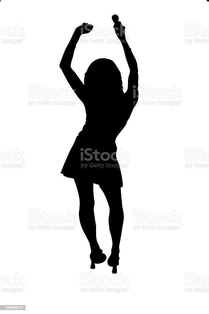 Dancing Girl Silhouette royalty-free stock photo