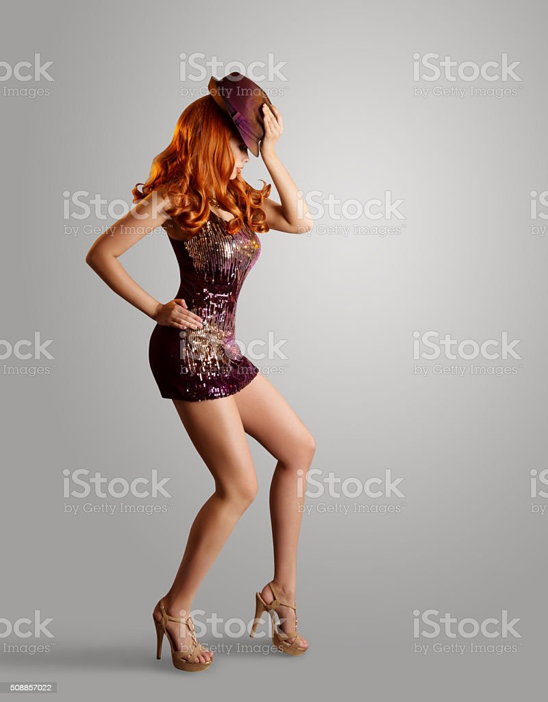 Dancing Girl, Woman Artist Dance, Hat Sparkling Dress, Gray stock photo
