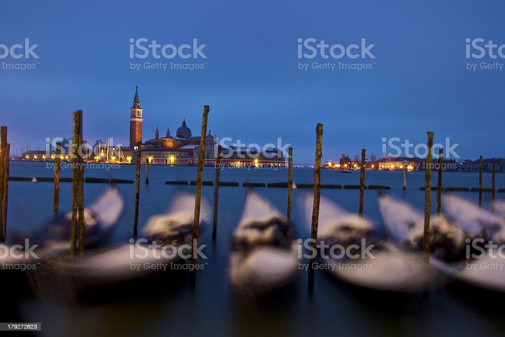 Dancing gondolas in Venice, Italy royalty-free stock photo