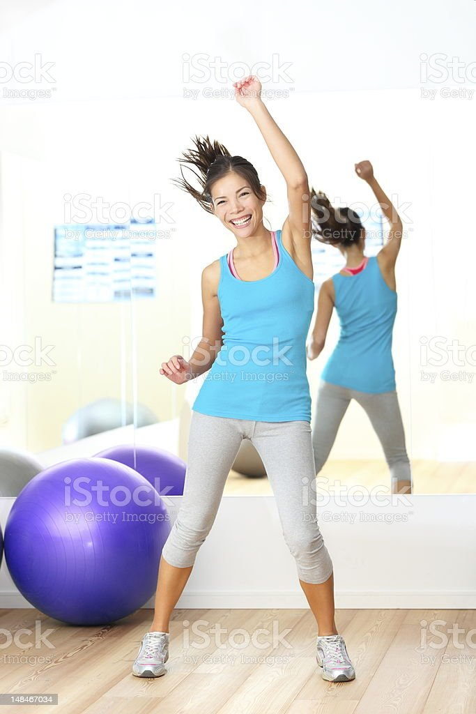 Dancing Gym aerobics fitness dance instructor stock photo