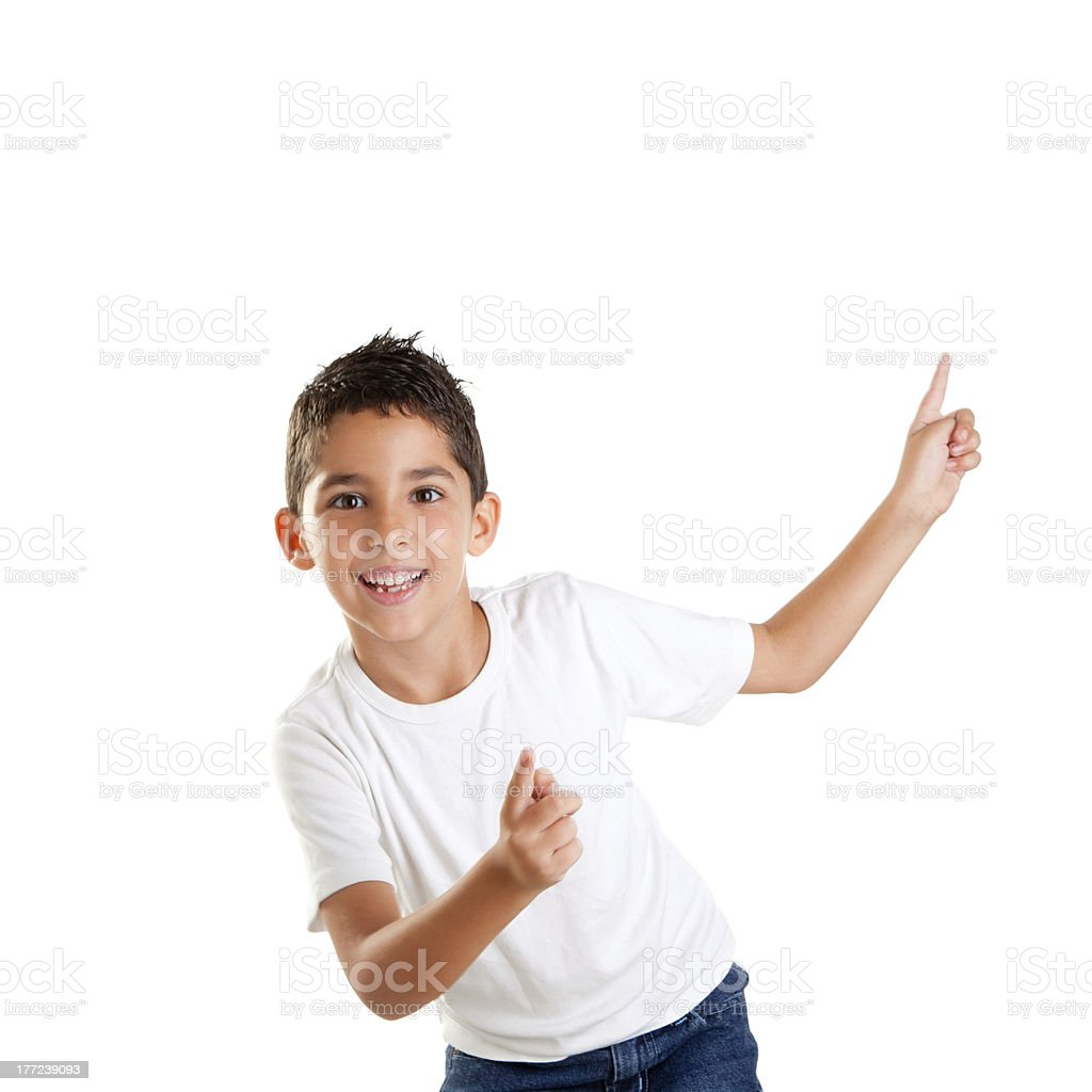 dancing happy children kid boy with fingers up stock photo
