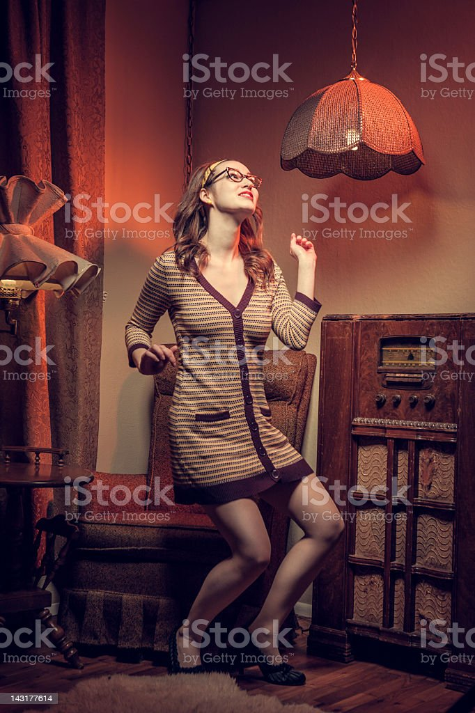 Dancing Housewife Sixties Style royalty-free stock photo