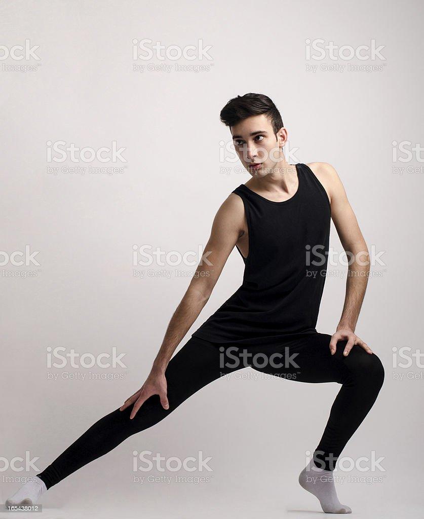 Dancing in black costume royalty-free stock photo