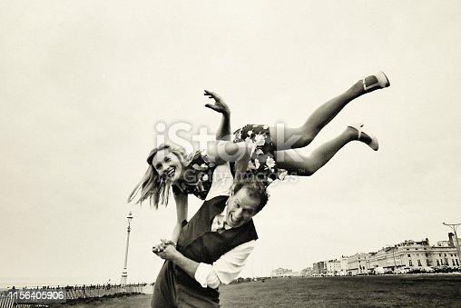 Portrait, dancing, couple, vintage, beauty, Brighton - England, dance, balboa, dance, dancer, aerial, air step,