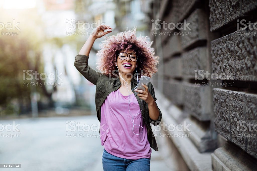 Dancing in the city streets stock photo