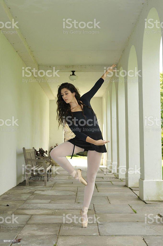 dancing in the corridor royalty-free stock photo