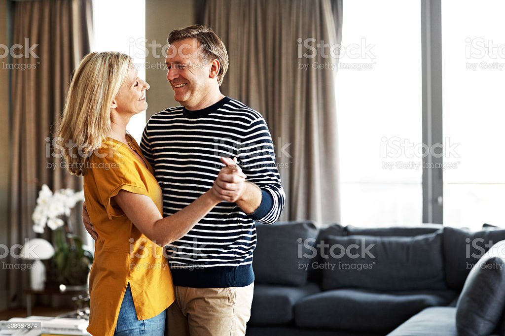 Dancing in the living room stock photo