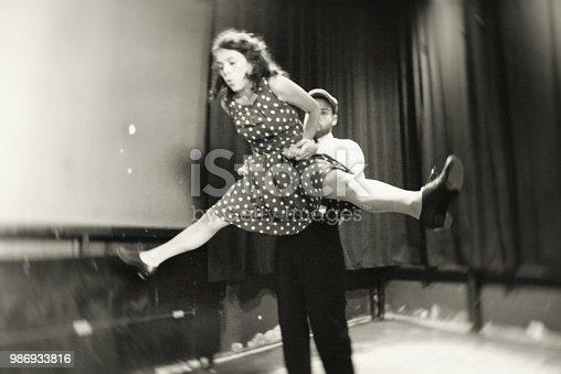 The beautiful couple dancing shag