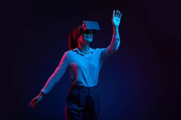 dancing in virtual reality glasses - virtual reality stock pictures, royalty-free photos & images