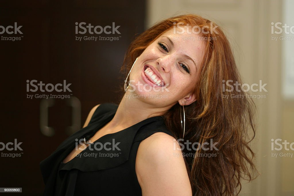 Dancing Lady with Smile stock photo