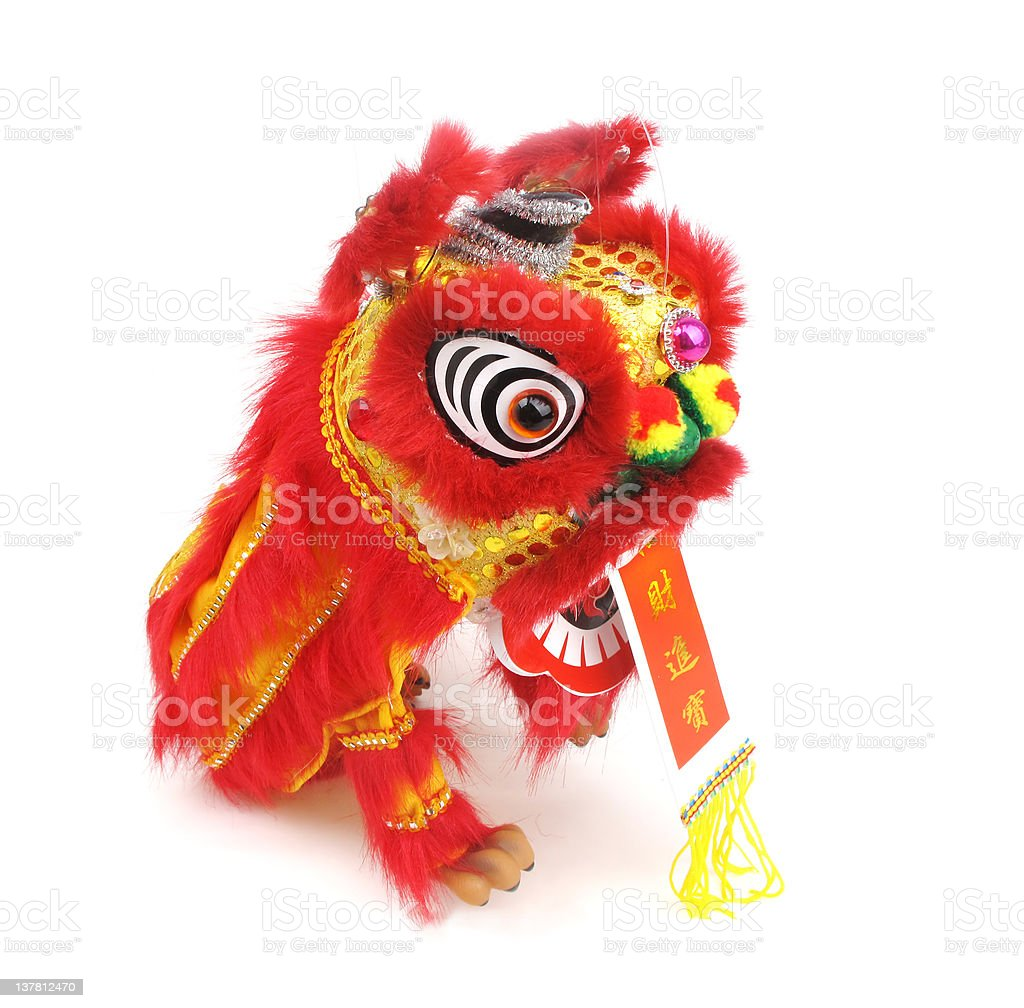 dancing lion and Lucky knot for Chinese new year greeting stock photo