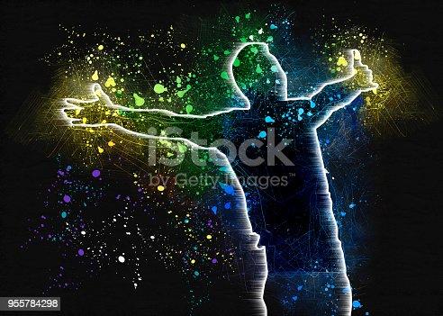 667381184 istock photo dancing man hads up 955784298