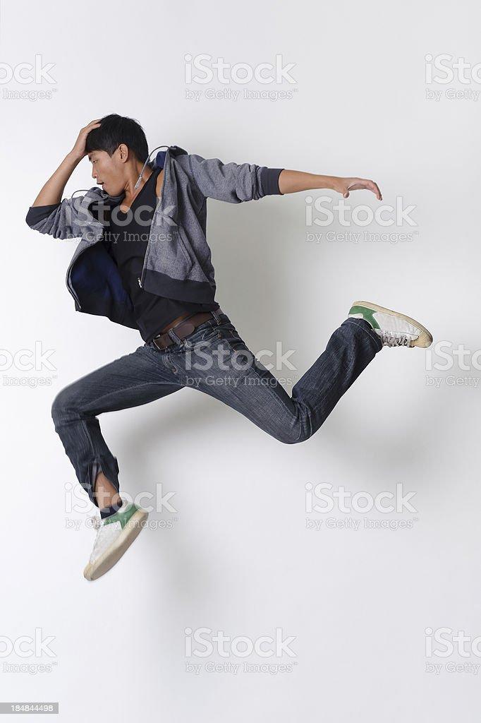 Dancing man jumping stock photo