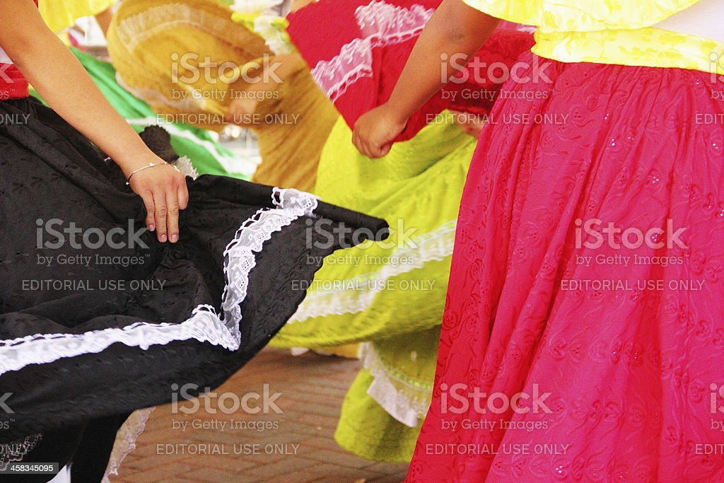 Dancing Mexican Colorful Skirts royalty-free stock photo