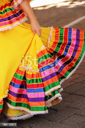 A section of a Mexican dresser's dress during a Mexican celebration. Like all folk dancing, traditional Mexican dances provide a glimpse into the culture of the region. Not only do these dances from Mexico express the rhythms of the music, but also the vital colors woven into Mexican clothing and decoration.