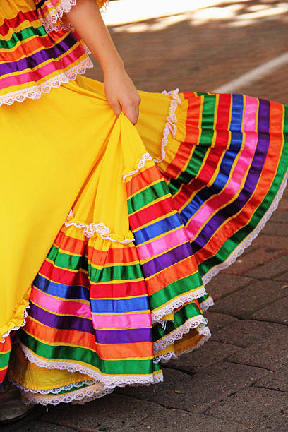 dancing mexican dress - traditional ceremony stock pictures, royalty-free photos & images