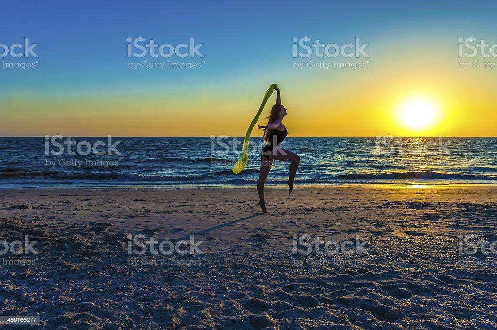 Dancing on a Beach stock photo