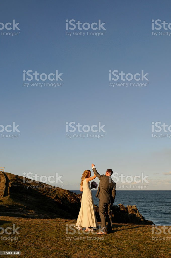 Dancing on the coast royalty-free stock photo