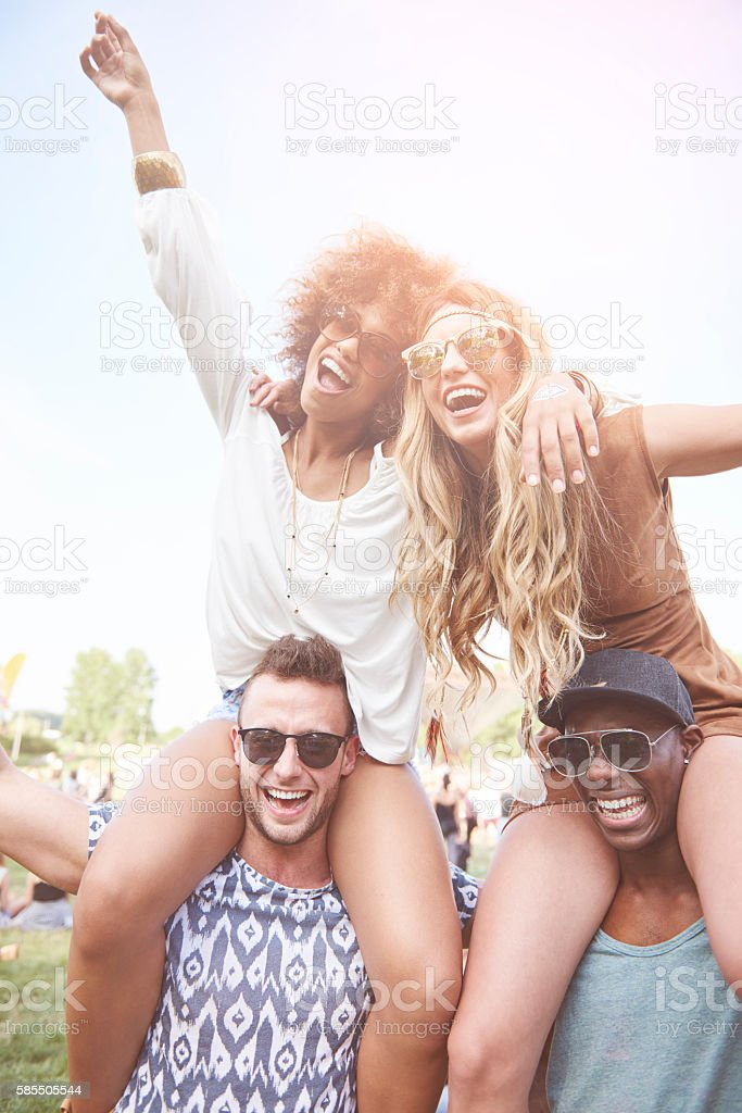 Dancing on the music festival stock photo
