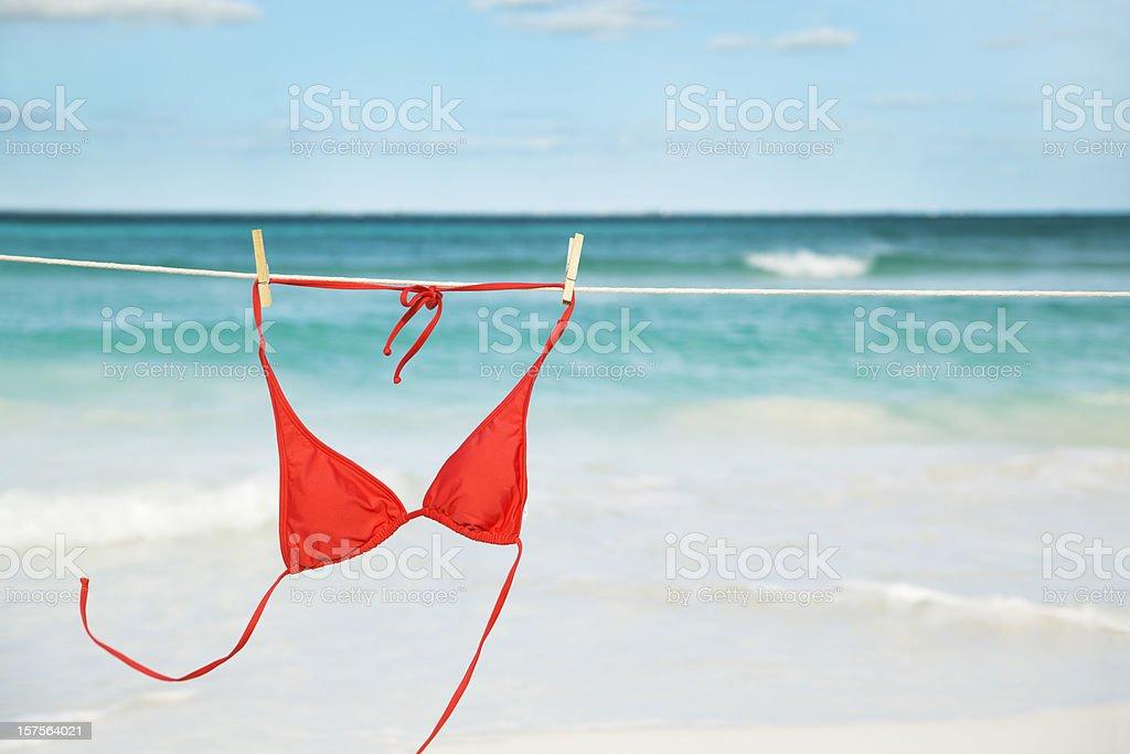 Dancing Red Bikini Top On Clothesline royalty-free stock photo