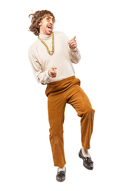 dancing retro seventies man on white - corduroy stock pictures, royalty-free photos & images