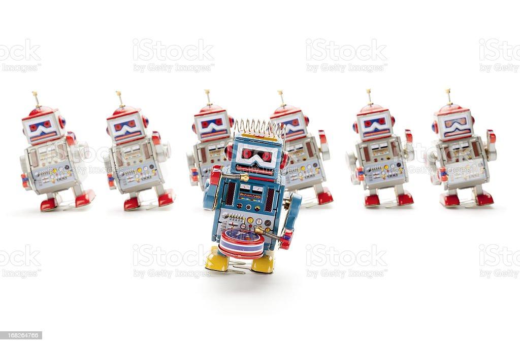 Dancing retro tin toy robots stock photo