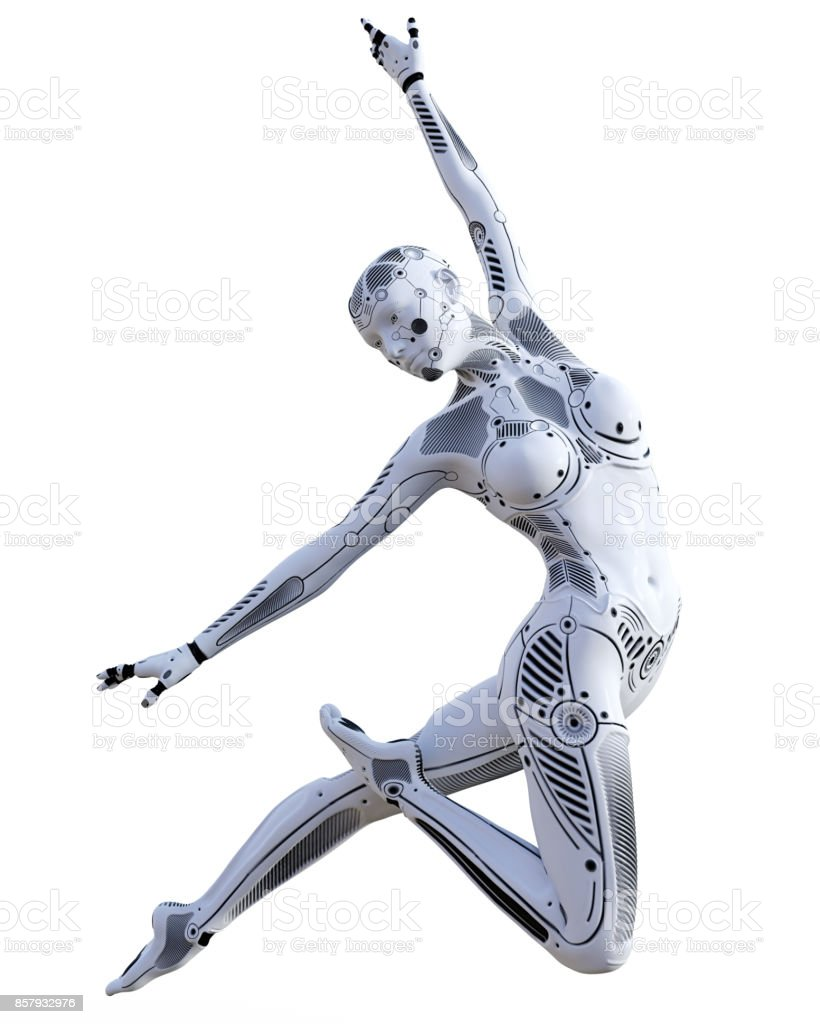 Dancing robot woman. White metal droid. Artificial Intelligence. stock photo